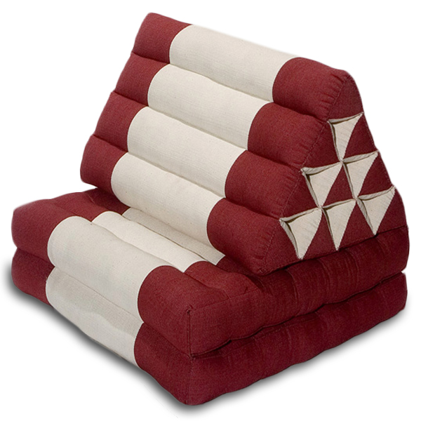 Triangle Pillow Two Fold Cotton Linen (burgundy Cream)