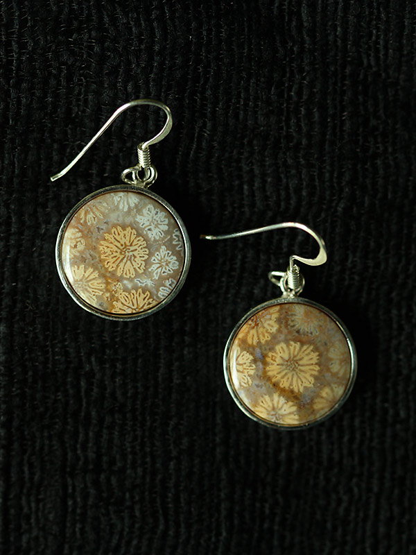 Circle Coral Goldenrod Earrings