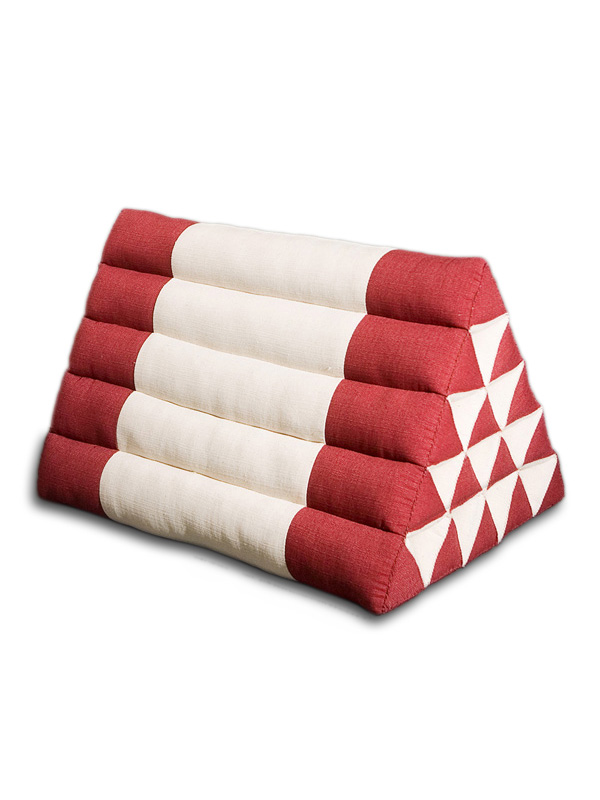 King Triangle Pillow Cotton Linen (burgundy Cream)