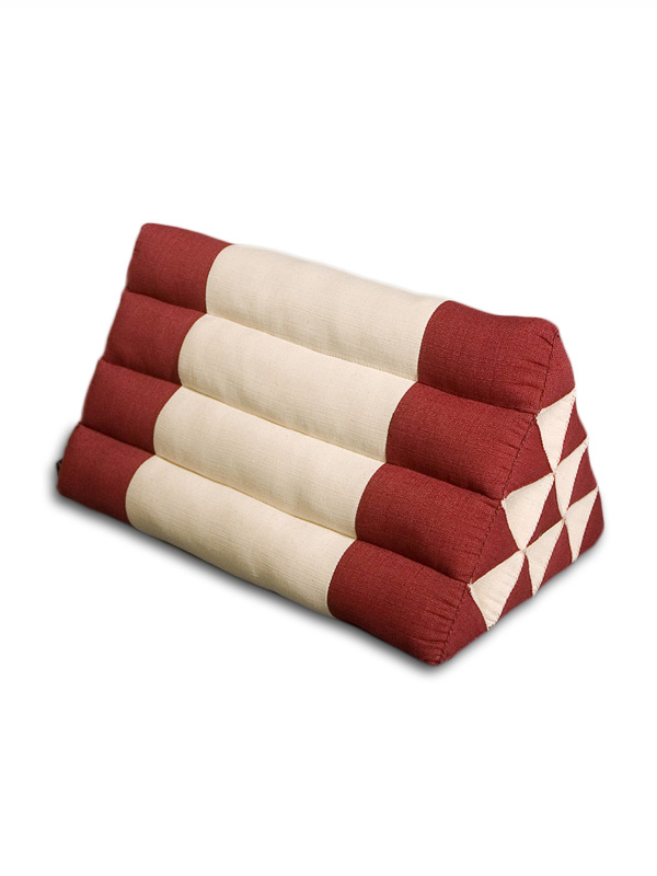 Triangle Pillow Cotton Linen (burgundy Cream)