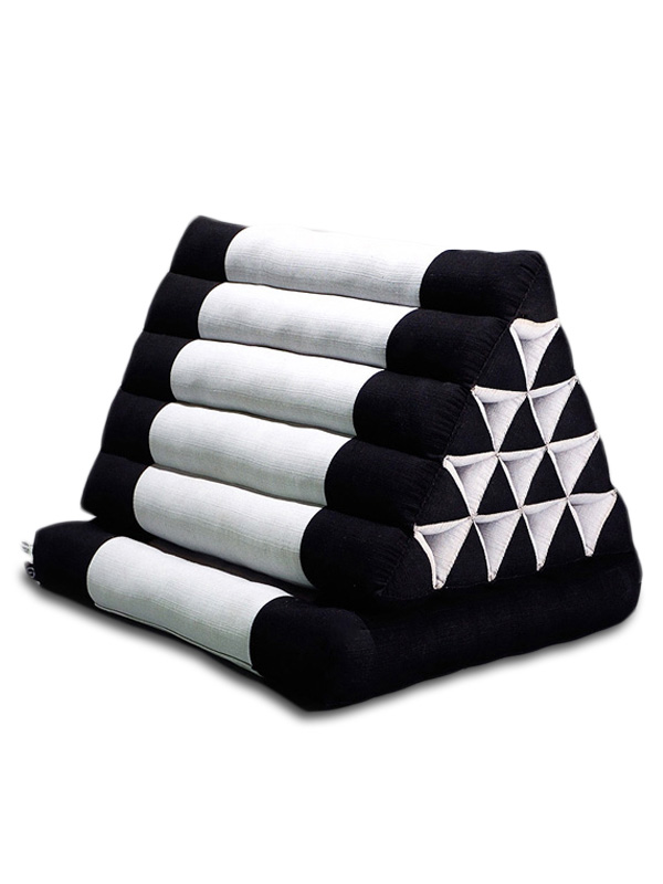 King Triangle Pillow One Fold Cotton Linen (black Grey)