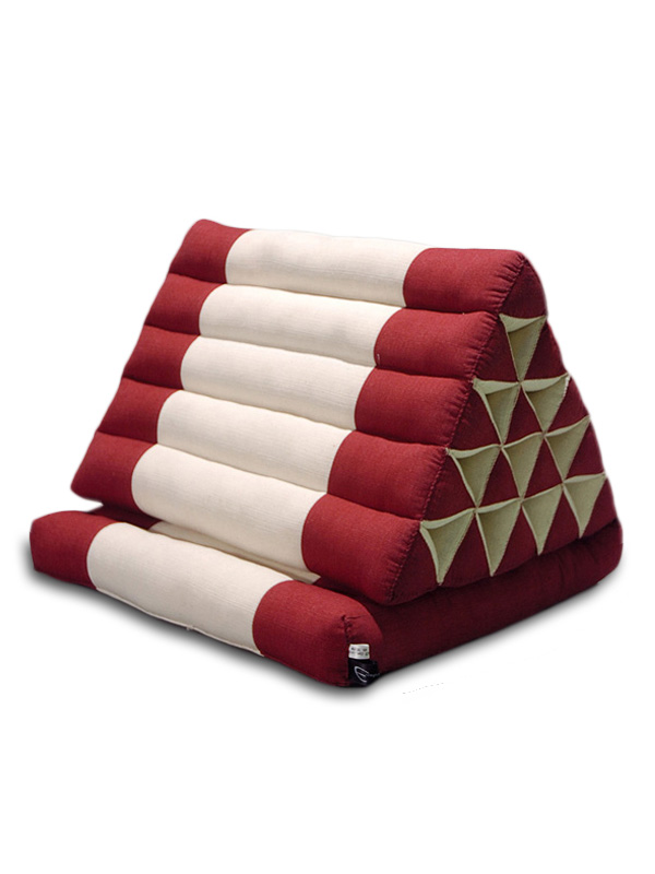 King Triangle Pillow One Fold Cotton Linen (burgundy Cream)