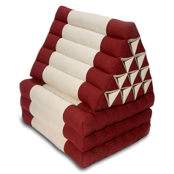 King Triangle Pillow Three Fold Cotton Linen (burgundy Cream)