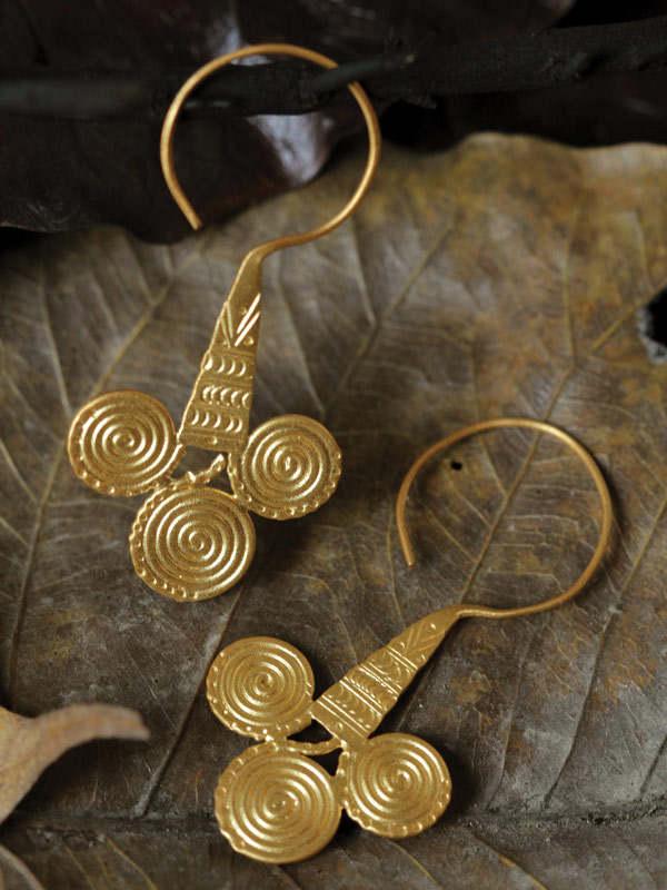 Golden Infinity Cone Earrings