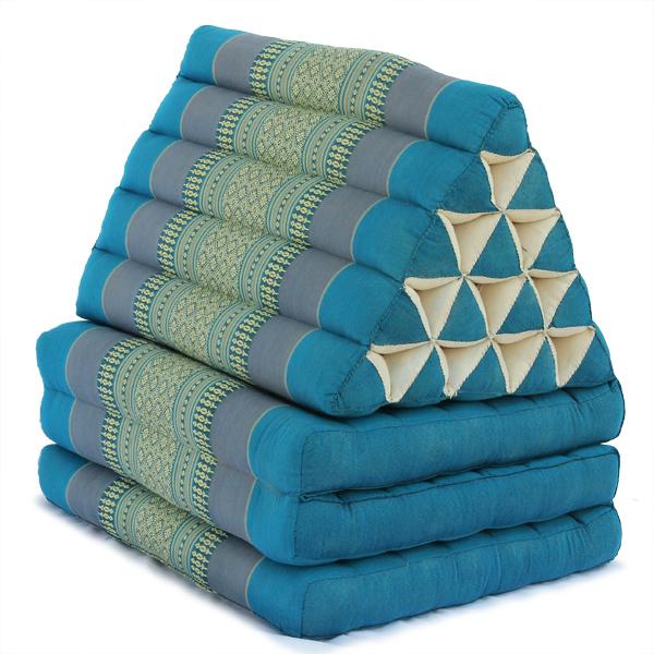 King Triangle Pillow Three Fold Thai Classic (aqua)