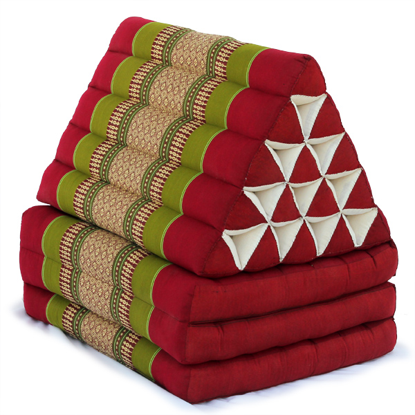 King Triangle Pillow Three Fold Thai Classic (green Red)