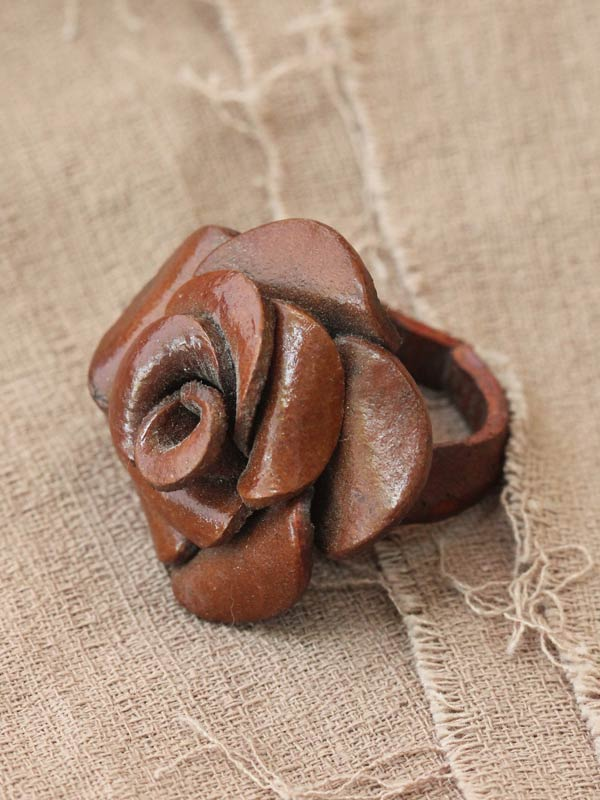Leather Blossom Ring