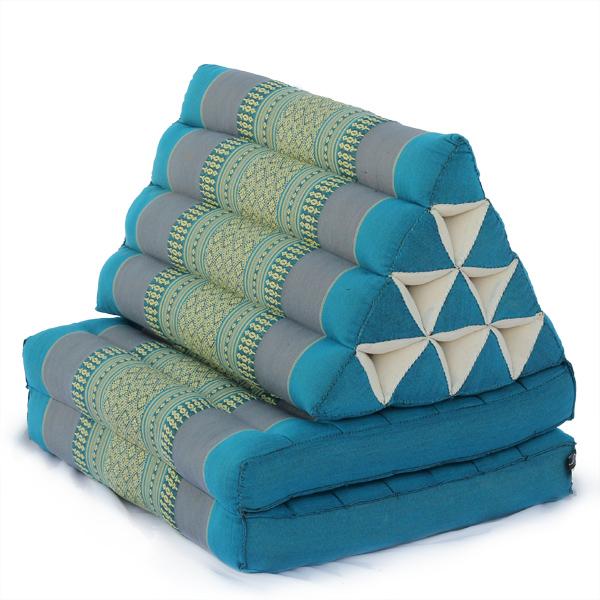 Triangle Pillow Two Fold Thai Classic (aqua)