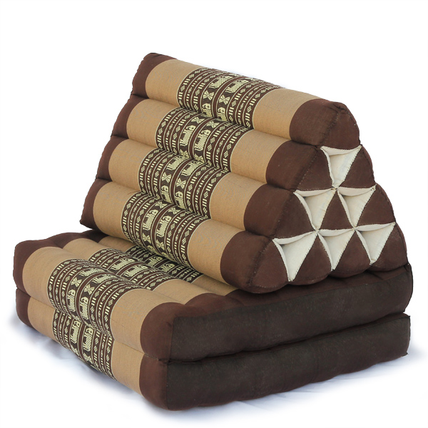 Triangle Pillow Two Fold Thai Classic (brown Elephant)