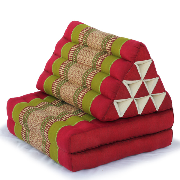Triangle Pillow Two Fold Thai Classic (green Red)