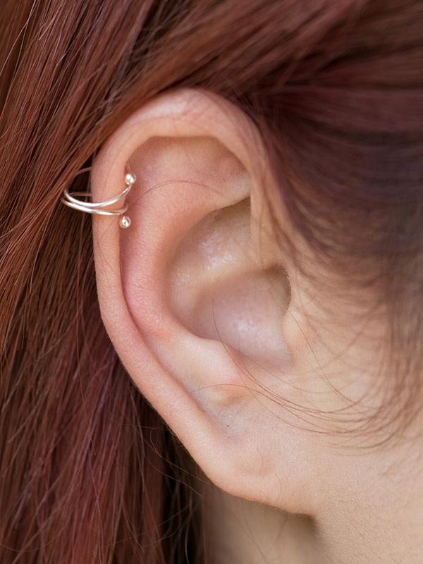 Silver yarn Ear Cuffs