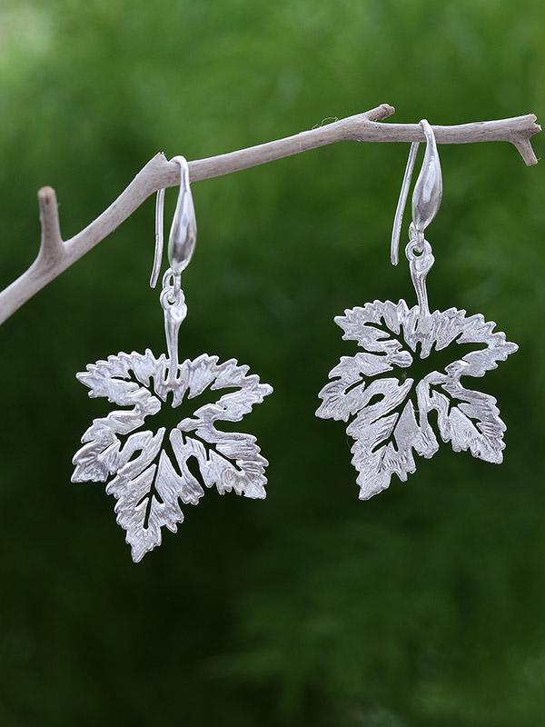 Frosted Leaf Earrings