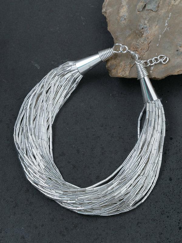 Cascading Silver Thread Bracelet