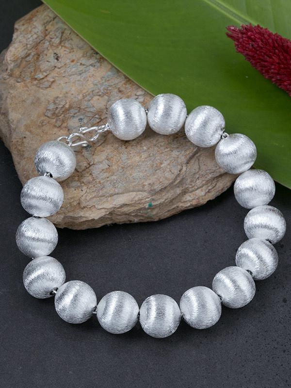 Brushed Silver Spheres Bracelet