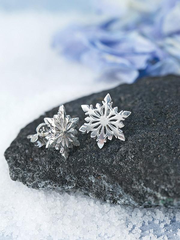 Sterling Snowflake Studs