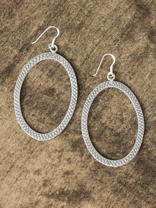 Checker Oval Earrings