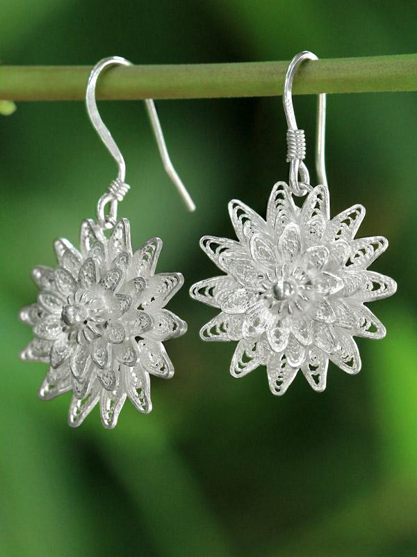Filigree Sunflower Earrings
