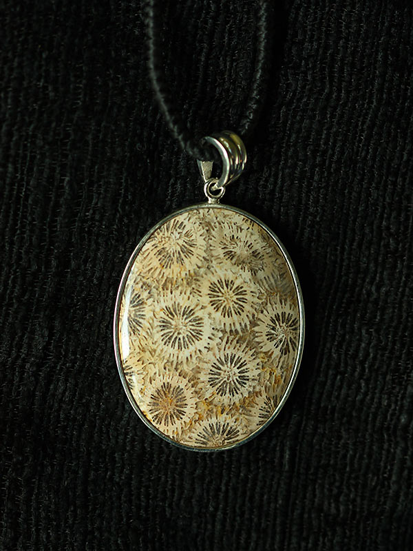 Oval Coral Ivory Pendant
