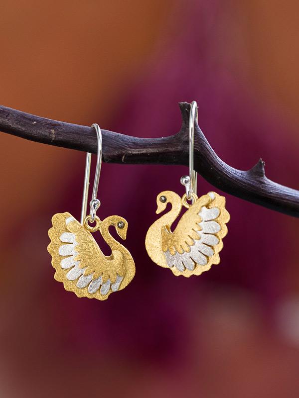 Golden Swan Earring