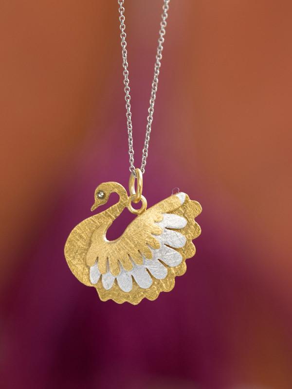 Golden Swan Pendant